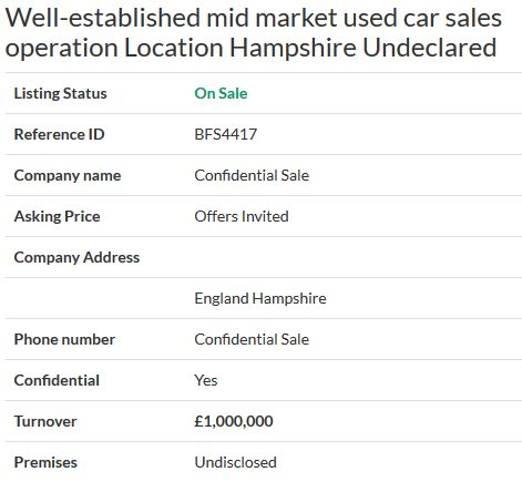 Business for sale- Well-established mid market used car sales operation Location Hampshire Undeclared Ref. BFS4417 Location England Hampshire Asking Price Offers Invited #selling your business #business sale #online business sales #online business agency #Businesses for sale #sell a business #UKbusinesstransferagents #Business transfer agents in UK #Free onlinebusiness transfer agents
