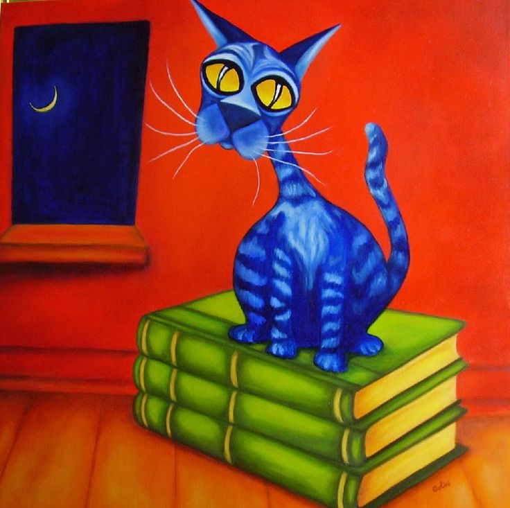 Othello - Will Rafuse - Blue cat on books
