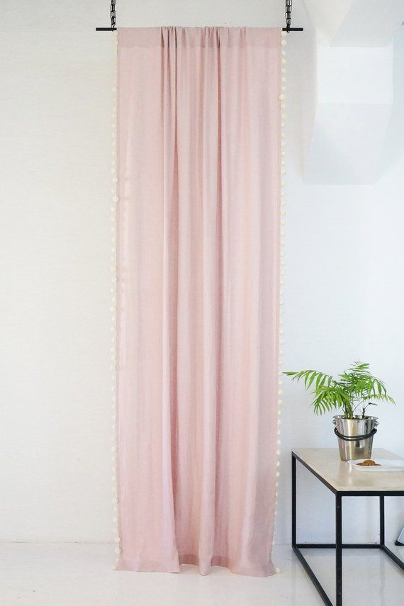 Pom Pom Curtain 15 Colors Linen Curtains With Pompoms Dusty Rose Pompom Curtains Linen Window Curtains Blackout Curtains Curtain Panel Pom Pom Curtains Panel