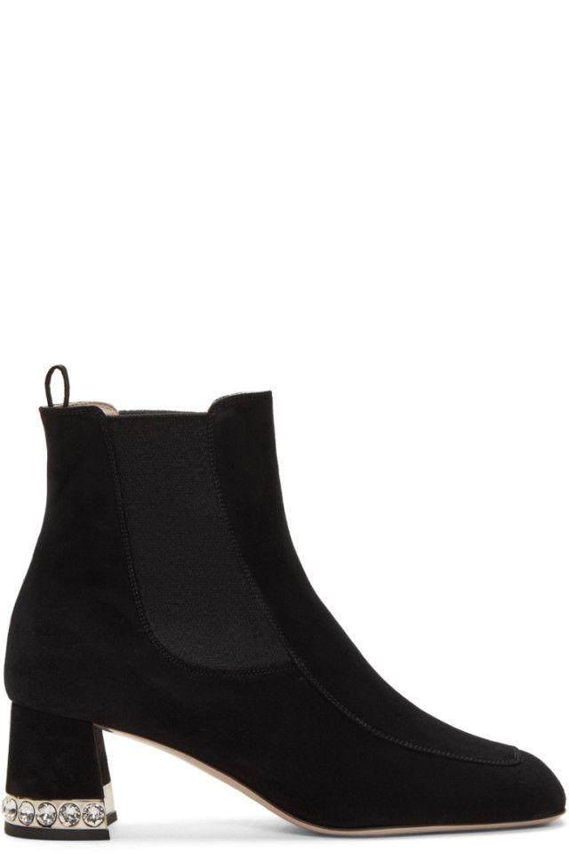 d5654d50dca8 Miu Miu - Black Suede Crystal Ankle Boots