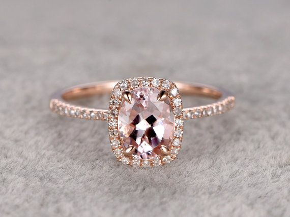 Morganite Engagement ring rose gold, 14K&18K Rose/Yellow/White Gold Available. Every Jewelry in my store needs making to order. The Engagement ring