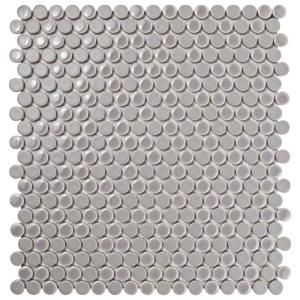 Merola Tile Comet Penny Round Ash 11-1/4 in. x 11-3/4 in. x 9 mm Porcelain Mosaic Tile FSHCOMAS at The Home Depot - Mobile