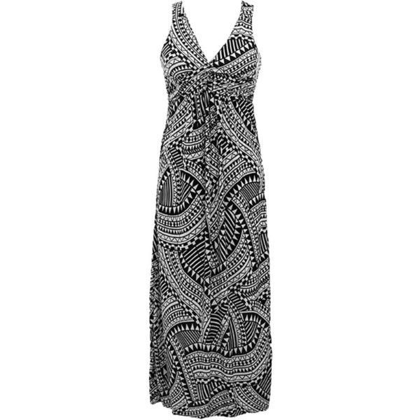 Black White Aztec Geometric Print Long Maxi Sun Dress ($19) ❤ liked on Polyvore featuring dresses, maxi sundresses, long sundresses, long v neck dress, v-neck dresses and black white maxi dress