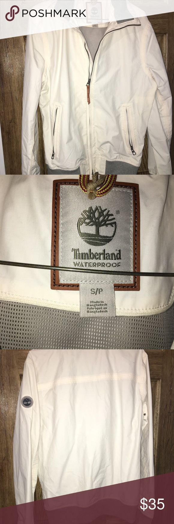 Timberland waterproof jacket White/ cream colored timberland waterproof jacket! Never worn and in perfect condition!! Timberland Jackets & Coats