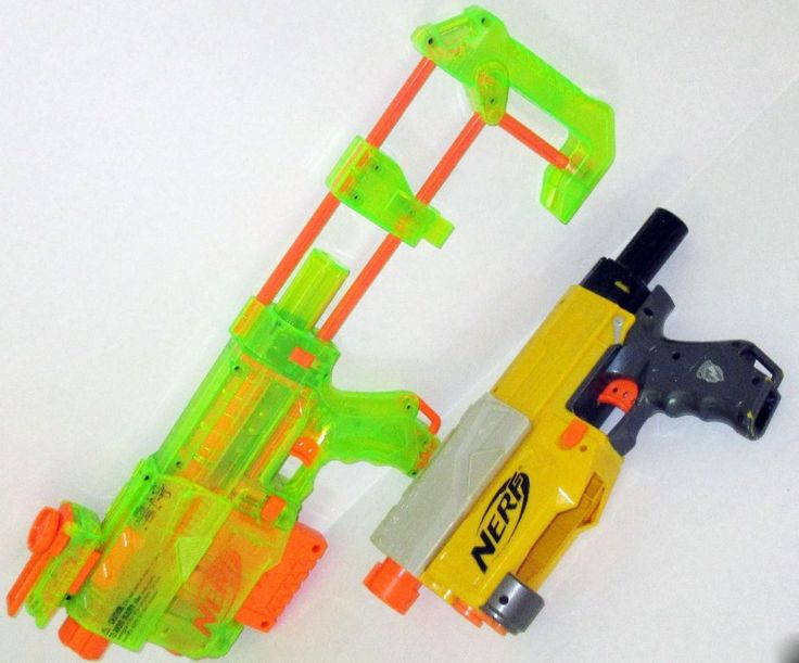 Nerf Recon CS-6 lot of 2 with 1 Shoulder Stock  1 Clip 1 Sight Tested No Ammo…