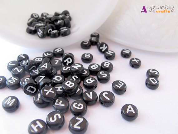 Word beads letter beads alphabet black white by APlusJewelryCrafts