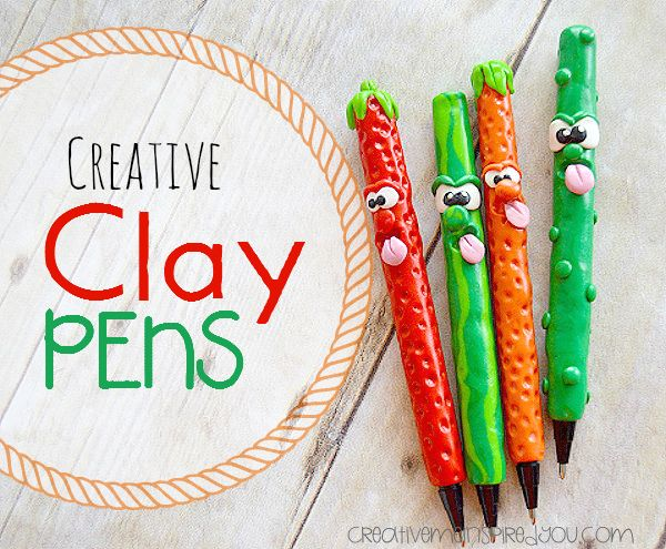 Creative Clay Pens - CreativeMeInspiredYou.com polymer clay, pens, fruits, pickle, strawberry, watermelon, orange, cute, kids crafts, polymer clay pens, bake