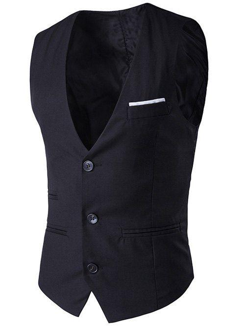 V-Neck Single-Breasted Edging Design Waistcoat
