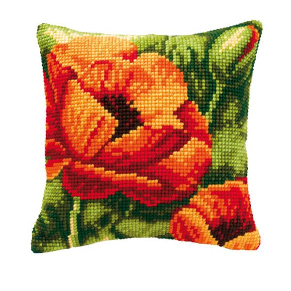 Vervaco 1200/702 Lrg Hole Canvas Lrg Poppies Cushion Front Cross Stitch Kit 40cm