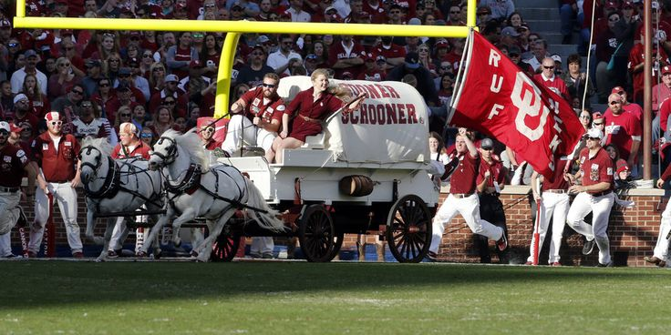 The Sooner Schooner celebrates a touchdown during a college football game between the University of Oklahoma Sooners (OU) and the West Virginia Mountaineers at Gaylord Family-Oklahoma Memorial Stadium in Norman, Okla., on Saturday, Nov. 25, 2017. Photo by Steve Sisney, The Oklahoman