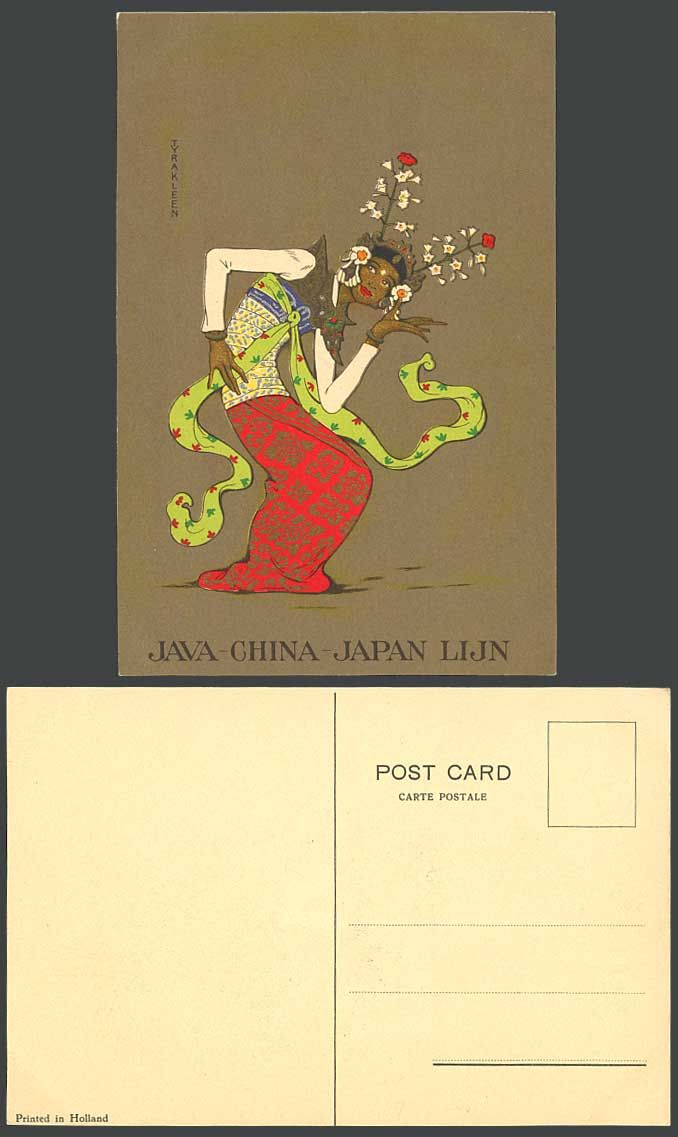 Tyra Kleen ART Drawn Dancer Dancing Indonesia Java China Japan Lijn Old Postcard