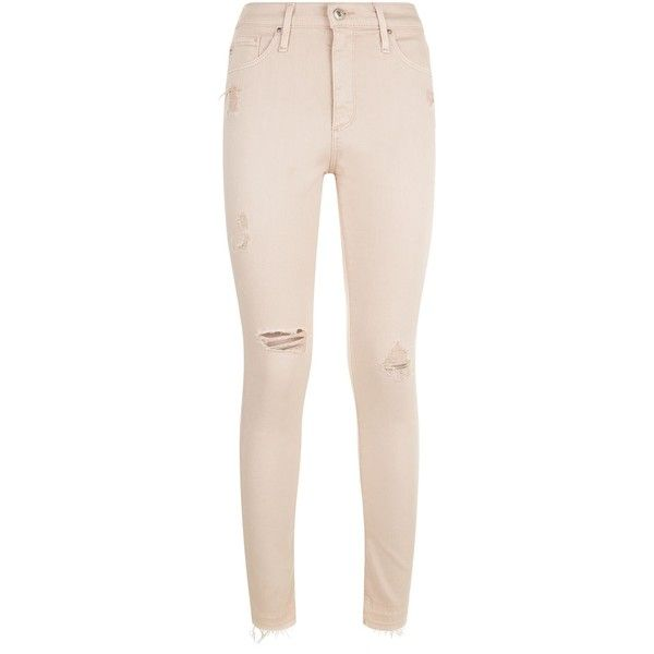 AG Jeans Farrah Ripped Knee Skinny Jeans (£280) ❤ liked on Polyvore featuring jeans, ripped denim jeans, destructed skinny jeans, skinny jeans, ripped jeans and destroyed jeans