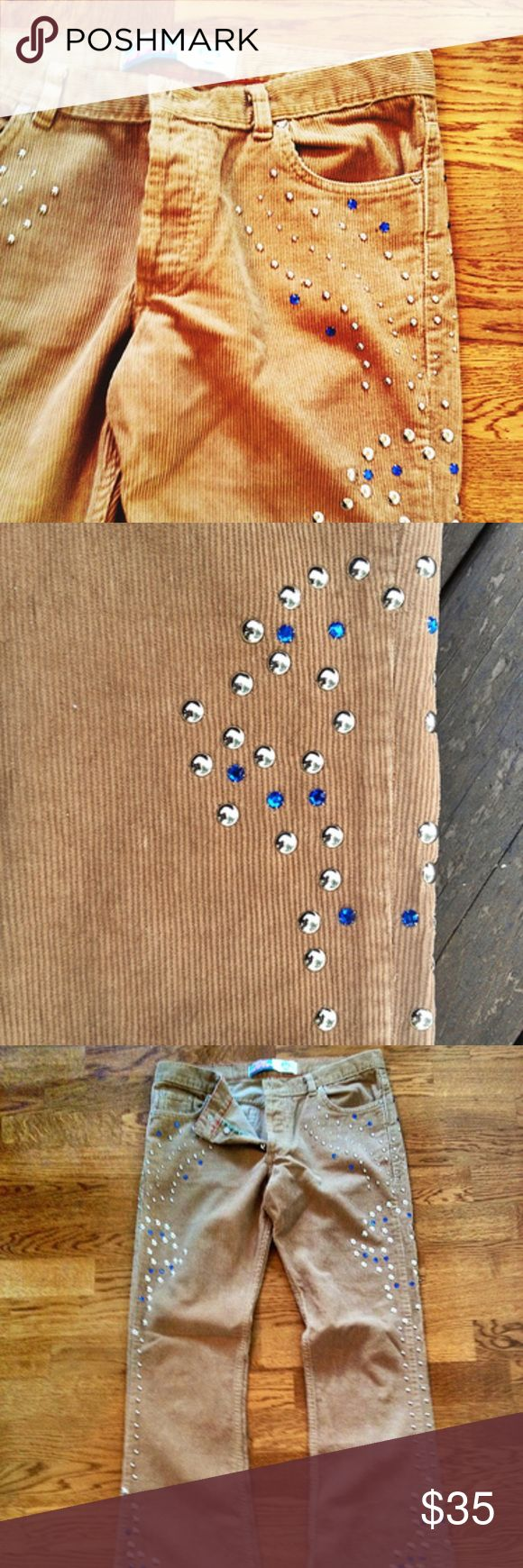 Vintage Inspired Kosiuko Corduroys These are vintage Inspired brown thin corduroy bell bottoms. They are so flattering' they have silver and blue tacks on the side for some flare. Great condition. Jeans Flare & Wide Leg