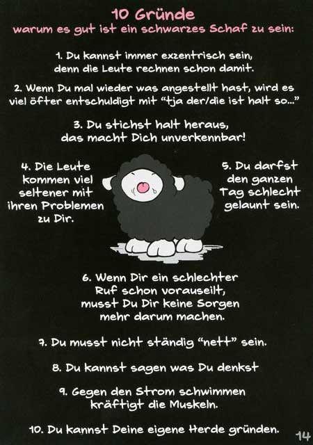Olaf das Grummelschaf und Poppy Postkarte mit lustigen Sprüchen - 10 Gründe warum es gut ist ein schwarzes Schaf zu se Postkarten Lustige Sprüche