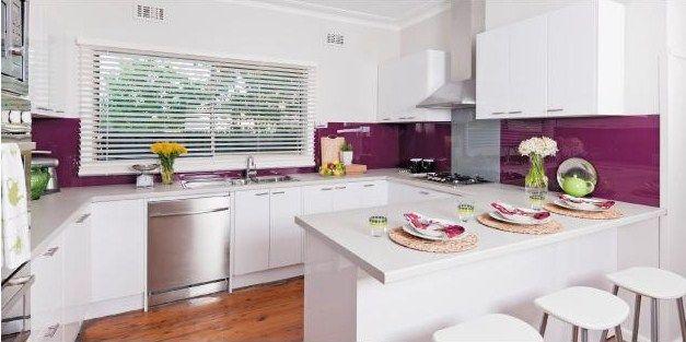 ISPS Innovations, Masters of detail & DIY, Acrylic Splashbacks, Bonethane Grades, Vetroploy Toughen Glass, Colour Tech Benchtops & Polyurethane Doors. http://www.ispsinnovations.com.au/home-renovators--splashbacks--benchtops--polyurethane-doors--composite-metal-panels-joinery-custom-made-diy.html #kitchen #purple #purplesplashback