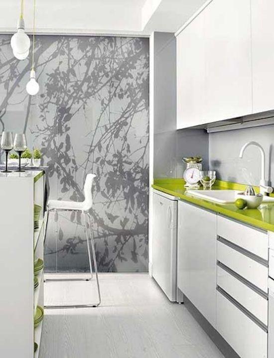 Küche Weiß Grün Küchentheke Barhocker Design