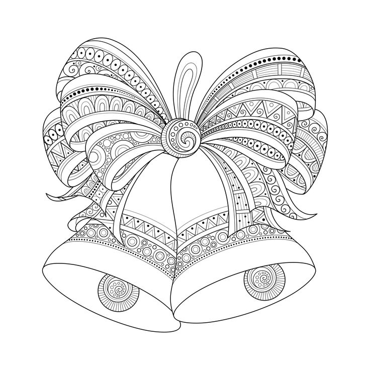 Christmas golden bells with bow, drawn with Zentangle style, From the gallery…