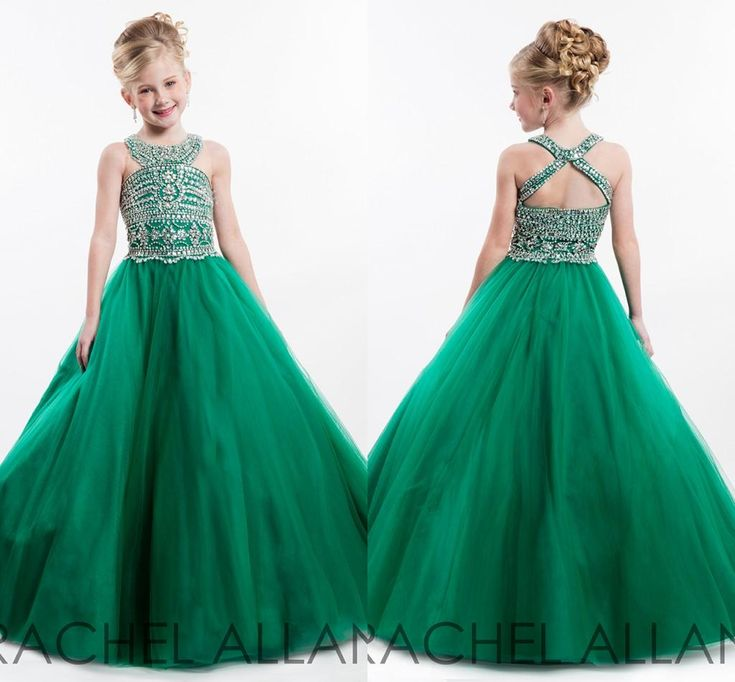 2016 Rachel Allan Halter Ball Gown Princess Little Girl'S Pageant Dresses Sparkling Beaded Crystals Open Back Puffy Tulle Kids Formal Wear Girl Occasion Dresses Girl Pageant Dress From Hot Wind, $96.49| Dhgate.Com
