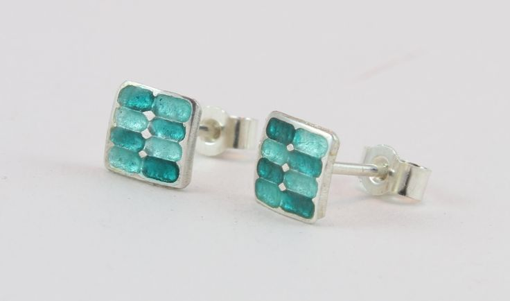 Sea green and turquoise square enamel silver stud earrings by imogenhose on Etsy