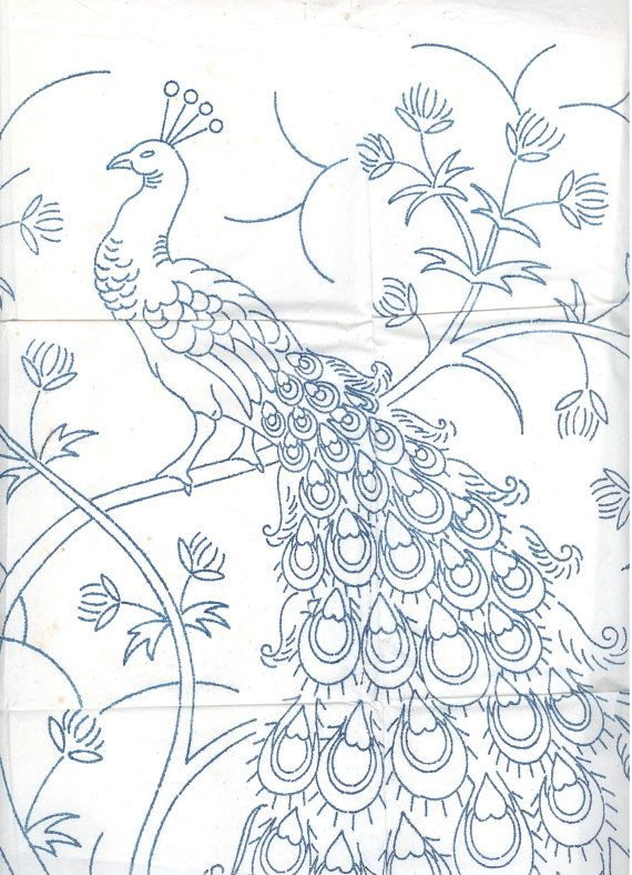 Large Jacobean Peacock embroidery transfer by craftycharlie, $10.00