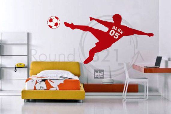Soccer Wall Decal With Personalized Name & Number  and Soccer Ball -  Nathan's Room