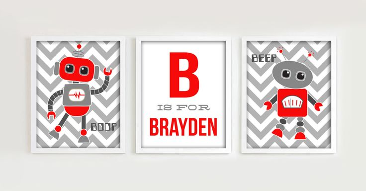 Robot Nursery 8x10 Prints, Downloadable Art, Set of THREE Red and Grey Robot Printables, Digital JPG and PDF Files by PrincessSnap on Etsy https://www.etsy.com/listing/242058030/robot-nursery-8x10-prints-downloadable
