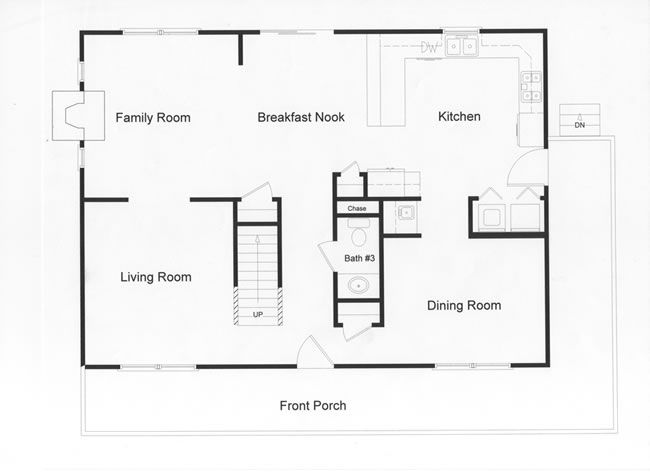 28 ft wide by 38 ft long custom modular open floor plan for 9 ft wide living room