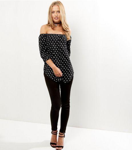 Black Polka Dot Bardot Top | New Look
