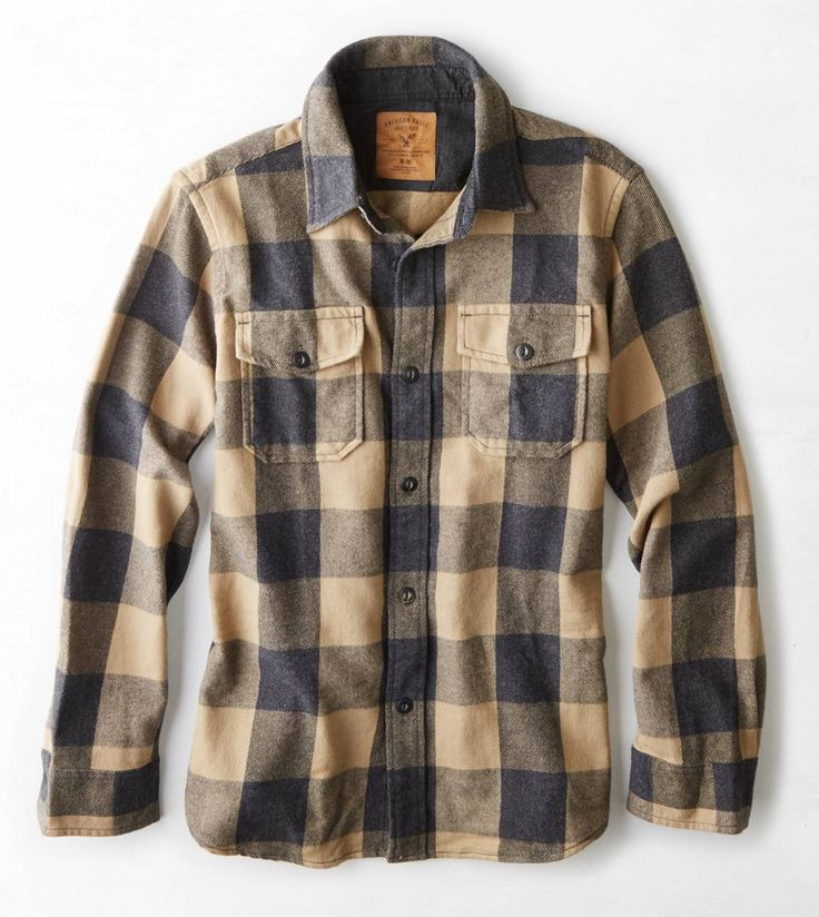 AEO Rugged Flannel Workwear Shirt .. Like with a plain crew neck under?