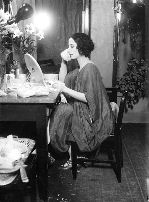 Russian ballet dancer Anna Pavlova (1881-1931), in her dressing room, date unknown.