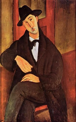 """""""Portrait of Mario Varvogli"""" by Amedeo Modigliani, who was an Italian painter that lived in France and painted in the Expressionism style. This painting was done in oil C, 1919."""