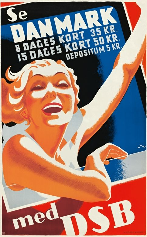 Vintage poster - Travel in Denmark with DSB (Danish Railways) - 1936