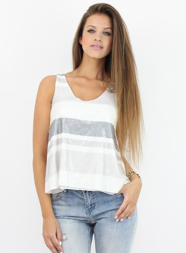 Chic Tank Top with Sequins for a party perfect outfit...:)  #top #moda #shopping #fashion #bluze