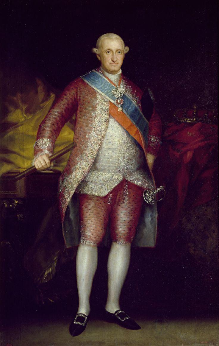 """Francisco de Goya: """"Carlos IV"""". Oil on canvas, 203 x 137 cm, 1789. Museo Nacional del Prado, Madrid, Spain"""