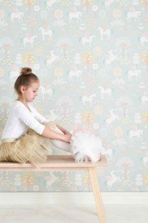 Majvillan barnetapet 1 True Unicorns myk grå - Miss Muffet Barnerom