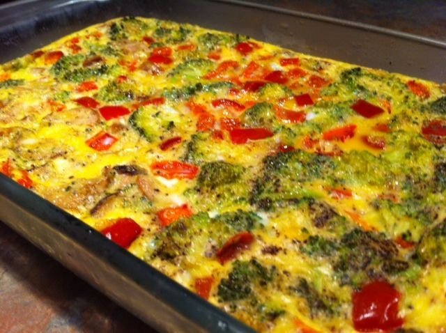 egg casserole - rub glass baking dish with coconut oil, throw in veggies (any you like), feel free to add a protein like diced ham, turkey, etc. Add 15 or so beaten eggs (season to taste), bake for 35-40 minutes. You've got a week's worth of quick, nutritious breakfasts or other meals - just heat up a square in microwave til hot.