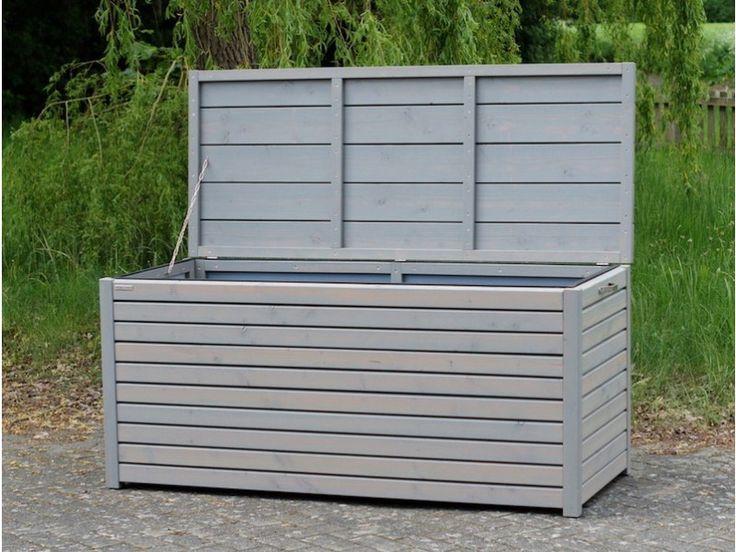 Auflagenbox / Kissenbox Holz XL, Farbe: Transparent Grau