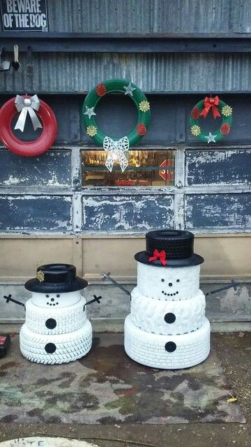 Tire Snowmen and Wreaths