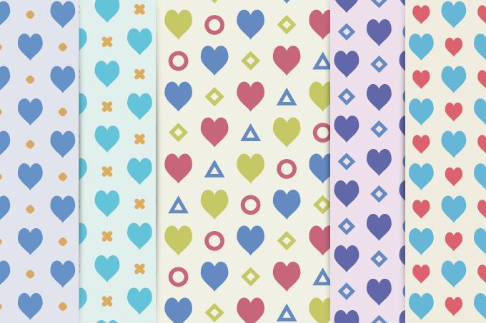 5 vector patterns with Valentine's day style. Easily change colour and use…