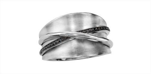 Silver Enhanced Black Diamond Ladies Ring