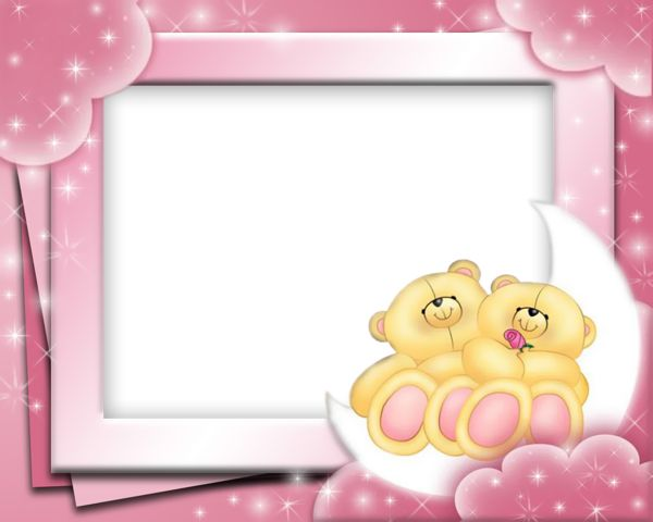 cute pink frame with bears