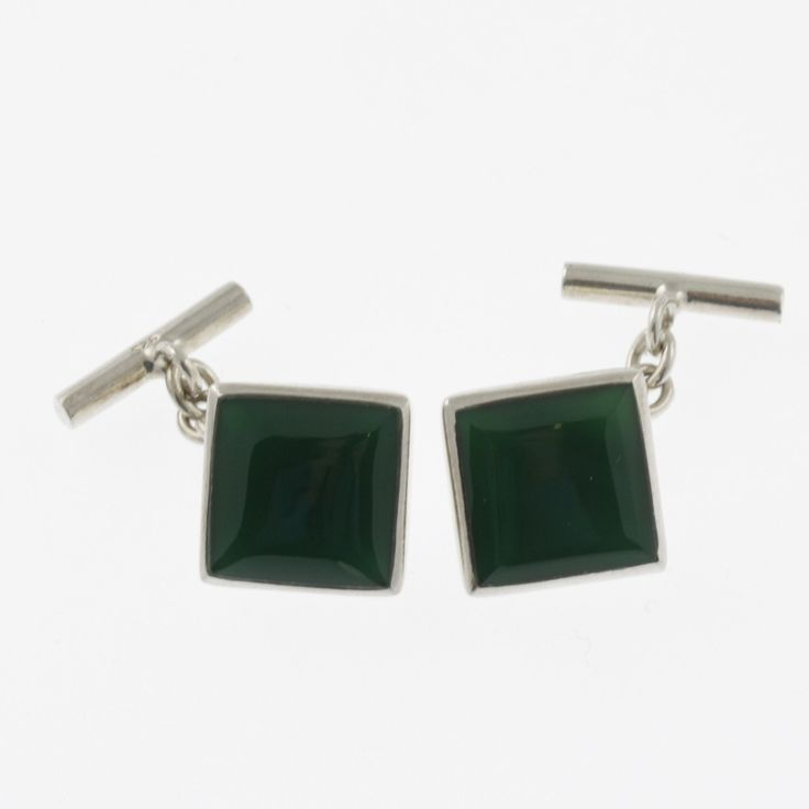 Green agate and sterling silver square cufflinks by Sky with Diamonds | Sky with Diamonds