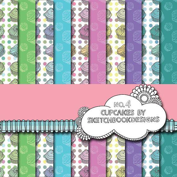 Digital papers  Cute Cupcake Set No. 4  DIY by SketchbookdesignsAu, $3.00