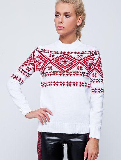 Стилизованный белоснежный свитер с модным орнаментом, фото 1