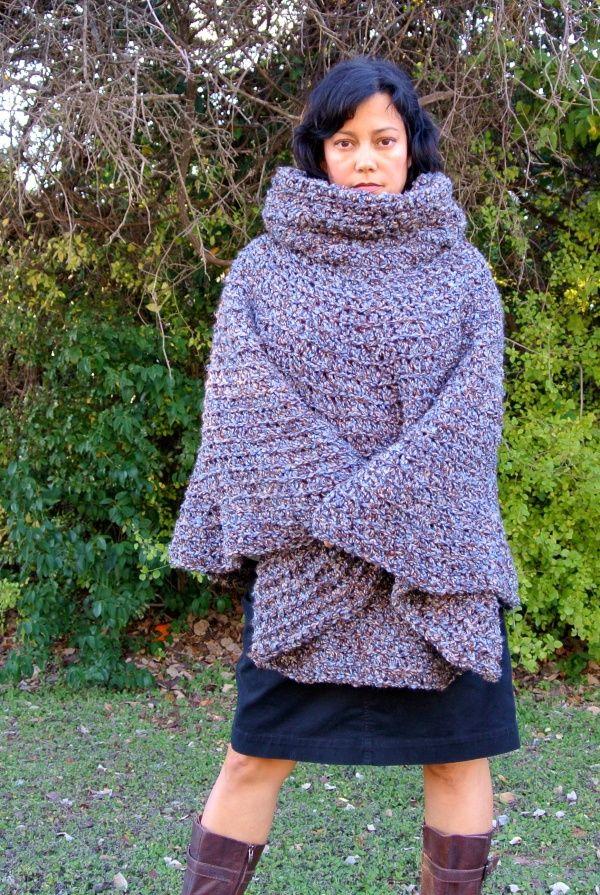 Free Crochet Patterns Plus Size Ponchos : Cowl Hooded Poncho free crochet pattern for Girls Teens ...