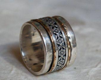 Eheringe, silber-gold-Ring, Spinner Ring, Waldland Ring, Meditation Ring, breit Silber Band, zwei Ton Ring - beruhigende Wirkung R2071
