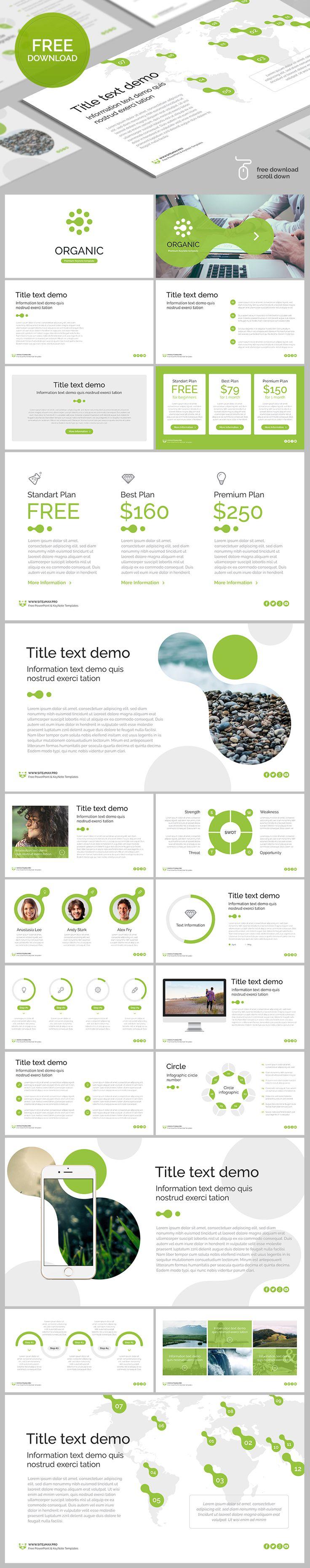 "DOWNLOAD LINK: Free Keynote template ""Organic"", 20 unique slides, 16:9 HD, .key format, free Google font. More Free PowerPoint and KeyNote template > #free #nature #organic #eco #keynote #freebies #key #design #green #download"