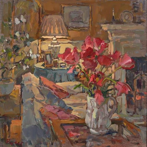 ◇ Artful Interiors ◇ paintings of beautiful rooms - Susan Ryder, RP NEAC (English) 'Drawing room tulips'