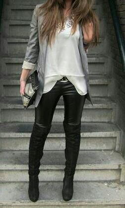 Blazer, leather pants, Rocker Chic.