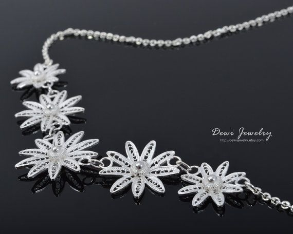 Chrysant Collection Necklace - 925 Sterling Silver Filigree - Handmade Jewelry - Fashion Jewelry